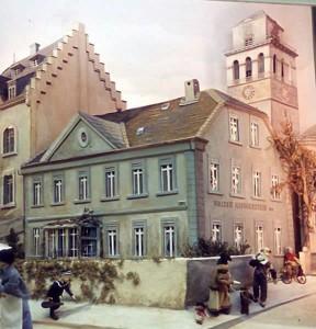 Das erste Stammhaus der Mülheimer Casinogesellschaft Mülheim in der Ruhrstr. 26 (hier altes Diorama, spätere Nutzung als Gasthaus, zuletzt Bankhaus)
